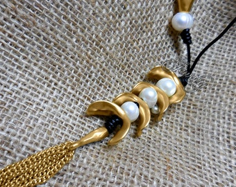 Matte Gold 18K GP Pearl Tassel Lariat Necklace