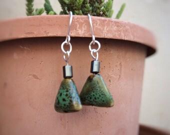 Green Ceramic Earrings, Boho Earrings, Triangle Earrings, Silver Plated Earrings