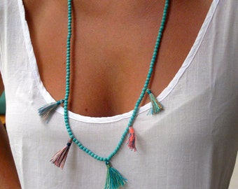 Aqua Beaded Tassel Necklace - Ladies Statement Jewelry