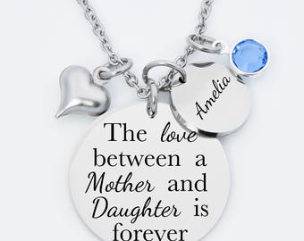 The love between a Mother an Daughter is forever necklace,  necklace for mom, necklace for daughter, stainless steel engraved