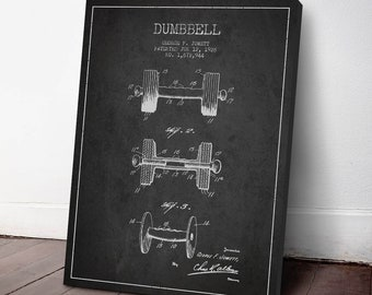 1928 Dumbbell Patent Canvas Print,  Bodybuilding Decor, Dumbbell Print, Wall Art, Home Decor, Gift Idea, SA14C
