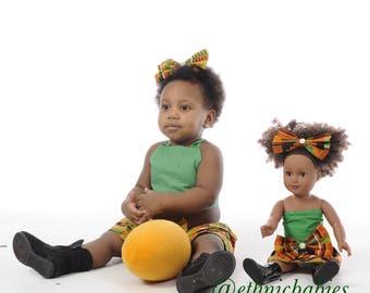"""18"""" American Doll/African Doll/Black Doll/Dolls/African/Ankara dolls/Kente/Kente clothing/Ankara/Toys/African American Doll"""