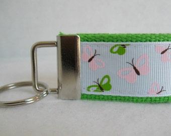Butterfly Mini Key Fob - Butterflies Zipper Pull - Lime Green Small Key Chain - Pink Butterfly Keychain