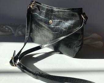 Vintage Etienne Aigner Black Croco Embossed Leather Crossbody / Shoulder Bag / Purse