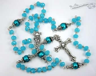 Turquoise Rosary confirmation gift catholic rosary girls rosaries blue rosary communion rosaries baptism rosary boys rosaries ladies rosary