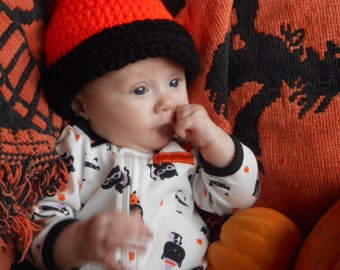 Candy Corn. Crocheted CHILD Sized Halloween Hat- made to order. Black orange white trick or treat baby Halloween costume accessory