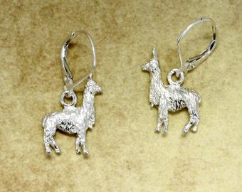 Alpaca Earrings, 925 Sterling Silver Suri Alpaca Earrings,Gift Mom