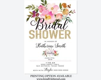 Bridal Shower Invitations-Bridal Shower Tea Party Digital Invitations-Watercolor Flower Invites-Digital Bridal-5x7-Digital File