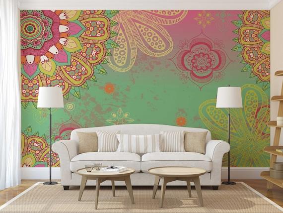 "Peace Symbol Hippie Love Floral Colorful Wall Sticker Room Interior Decor 22/"""