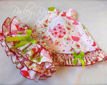 Parley Ray Strawberry Tea Party Cupcake Pinafore Dress with Ruffled Baby Bloomers / Ruffle Diaper Cover