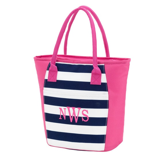 Personalized Prep Stripe Cooler Bag, FREE MONOGRAM, Monogram Beach Bag, Navy Stripe Beach Bag, Summer.