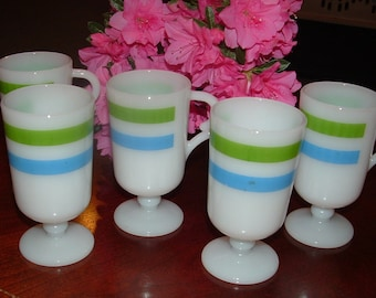 5 Milkglass Pedestal Mugs with Green and Blue Stripes Coffee Cups, Glass, Fancy Handles