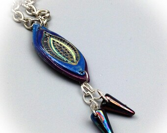 Bohemian blue necklace, drop, polymer clay pendant.