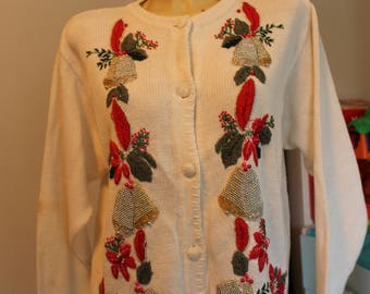 cream, beaded, holly, ugly Christmas, cardigan, sweater, bells, holiday party, xmas, embroidered, poinsettias