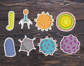 Viruses Microbiology Stickers - Virus Sticker - Bacteriophage/HIV/Influenza/Rabies/Microbes Vinyl - Science Laptop Decal - Virus Art Decor