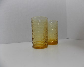 2 Soreno juice glasses in harvest gold  amber gold Anchor Hocking Juice Glasses Tumblers Crinckle Pattern textured glass yellow glassware