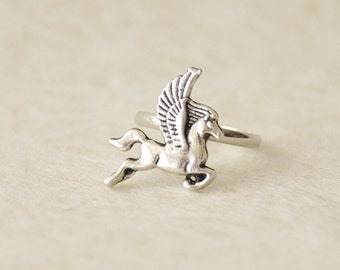Pegasus Ring / Whimsical Silver Pegasus Ring / Oxidized Silver Pegasus Jewelry * Magical Flying Horse Ring * Gift for her