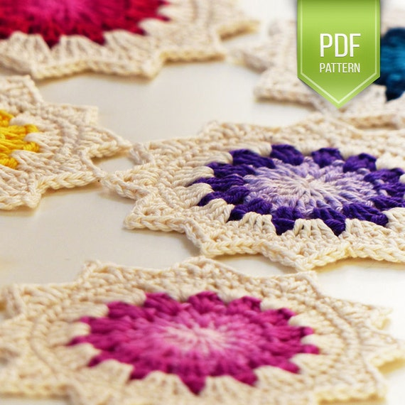 PDF pattern crochet coasters sunburst granny squares theme diagram included