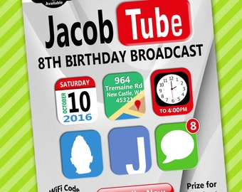 YouTube Theme Invitation - Printable