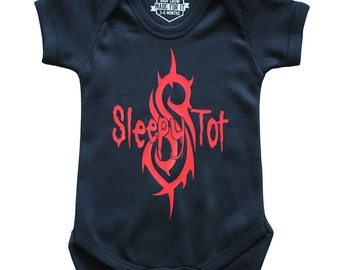 SLEEPY TOT Baby Grow - Available in 2 colours and 3 sizes! 100% Cotton - Punk Classic Rock Gift Newborn Goth Heavy Metal