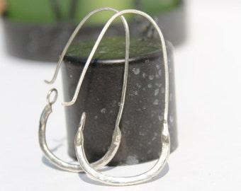 Simple Silver Oval Hoops