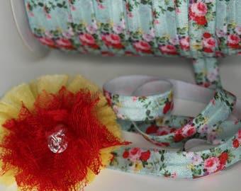 "5/8"" Fold Over Elastic FOE Mint Floral"