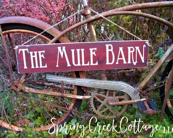 Rustic Signs, The Mule Barn, Handpainted, Mules, Horse Signs, Wood, Rustic, Farmhouse Decor, Country Decor, Horses, Wood Signs
