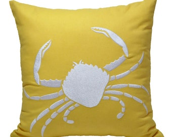 Crab Decorative Pillow Cover,Yellow Linen White Crab Embroidery, Modern Nautical Pillow, Cottage beach decor, Sea life decor, couch pillow
