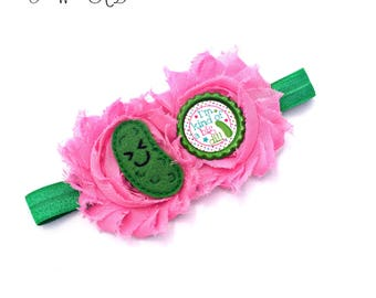 Pickle Headband, Pickle Baby Girl, Pickle Bow, Pickle Hair Clip, Pickle HairBow, Pink Baby Headband, Pink Baby Bow, Green Baby Headband