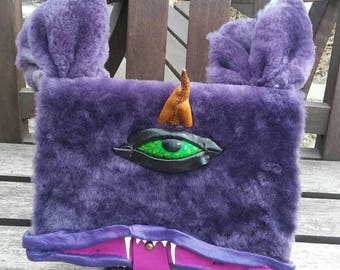 Leather journal One eyed One Horned Flying Purple People Eater OOAK