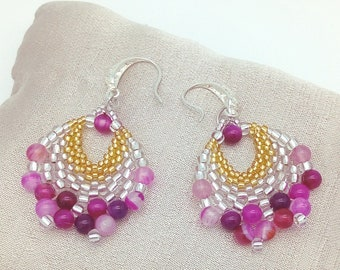 Pink bow silver woven earrings