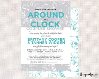 Around the Clock Couple's Shower PRINTABLE Invitation
