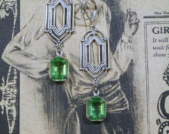 Great Gatsby Earrings - August Birthstone - Gift for Her - Art Deco Earrings - Peridot Green - Gift for Her - Womens Jewelry