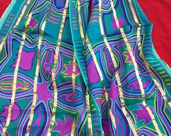 Vintage Silk Scarf Oscar De La Rents Gold Violet Green Long