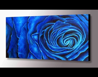 Blue Rose Painting | Twin Peaks Blue Rose | Flower Painting |Twin Peaks Art | Blue Painting | Rose Wall Art | Cobalt | Blue Flowers | Modern