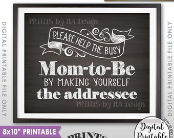 """Baby Shower Address Envelope Sign, Help Mom-to-Be Address an envelope Shower Decoration 8x10"""" Chalkboard Style Printable Instant Download"""