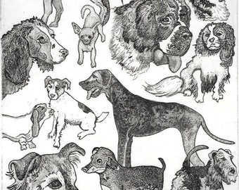 Dog Aquatint Etching-Good Dogs-Classic Canine Breeds-Monoprint-10 x 14 inches
