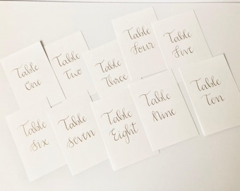Custom Hand Lettered Table Number Cards-Calligraphy-Wedding Table Numbers