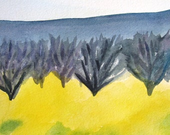 Orchards in Early Spring Original Watercolor 19 x 11 inches