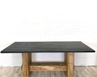 Six Seater Slate and Oak Bespoke Handmade Dining Table