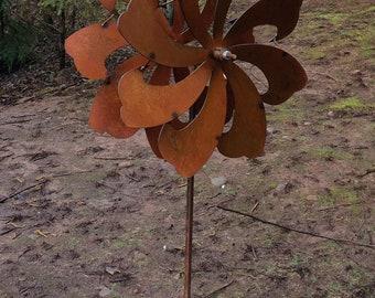 Dual Blade Garden Wind Spinner, Metal Kinetic Wind Sculpture, Yard Spinner, Lawn Spinner, Whirligig, Garden Decor, Rustic Decor