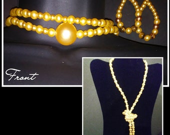 Long Golden Pearl Necklace Set