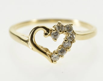 10k Half Cubic Zirconia Encrusted Heart Cut Out Ring Gold