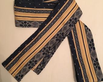 "RENAISSANCE PIRATE SASH belt. Decorative navy and gold brocade sash approx 80"" x4"""
