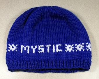 Pokemon Go! Team Mystic Knit Beanie Hat Blue Team White Cozy Winter Water Snowflake