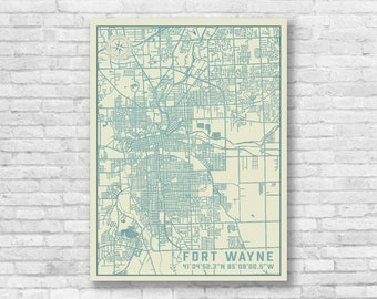 Fort wayne map art | Etsy
