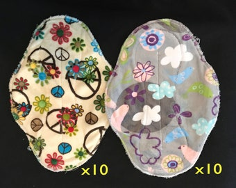 20-pack cloth pad making kit, unfinished, regular length heavy flow in Serendipity and Flower Child