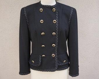 80's 90's Black Blazer, Double Breasted Blazer, Unique Blazer, Black Wool Blazer, Vintage Blazer, Preppy