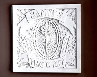 Christmas Shadow box 3D Layered papercutting template. Santas Magic Key multilayer,  Machine or Hand cut SVG, DXF, PDF personal use