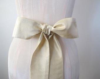 Champagne Dupioni Silk Sash Bow Belt Wedding Sash Silk Obi Belt - extra long length - made to order
